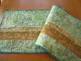 Modern Batik Table Runner in Hues of Green and Gold