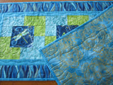 Dragonfly Quilted Table Runner with Blue, Aqua and Green