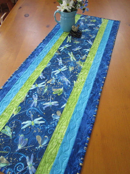 Quilted Table Runner with Dragonflies