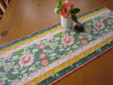 Spring Quilted Table Runner with Flowers, Butterflies and Dragonflies