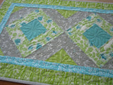 Floral Handmade Table Runner Gray Aqua and Green Decor