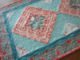 Quilted Table Runner in Colors of Aqua and Peach