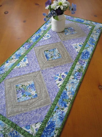 Blue Floral Table Runner with purple and gray