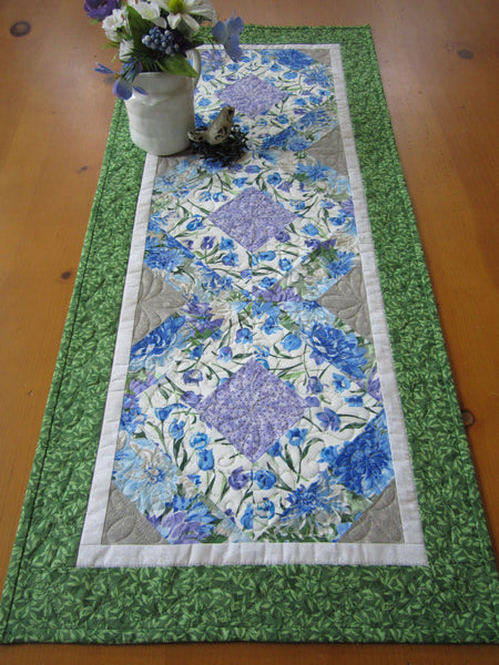 Floral table runner with blue purple and green for sale