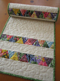 Floral Stripe Quilted Table Runner Spring and Easter Decor