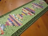 Quilted Table Runner Floral with Green