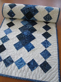 Quilted Table Runner in Blue Batik