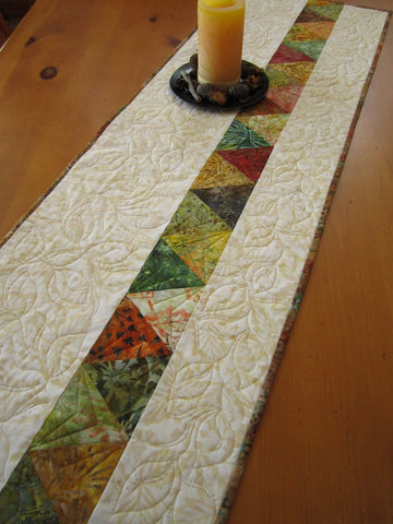 Quilted Table Runner with Leaves Featuring Batik Fabrics