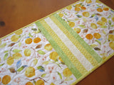 Quilted Table Runner Featuring Lemons and Leaves