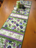 Quilted Table Runner Featuring Purple Flowers for Summer Decorating