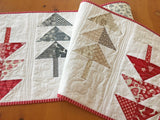Table Runner Christmas Trees in Red, Gray and Tan