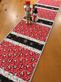 Christmas Table Runner with Birds and Snowflakes