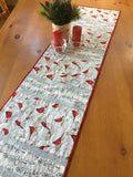 Christmas Table Runner with Cardinal Birds and Trees