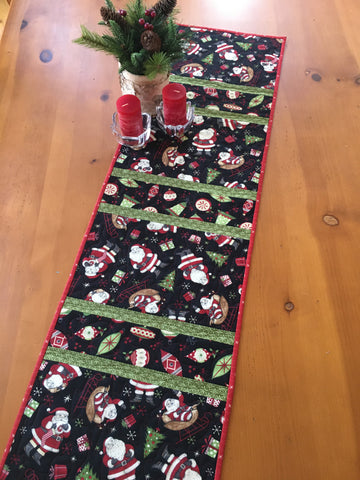 Table Runner Whimsical Santa and Ornaments