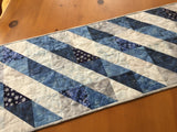 Table Runner Winter Decor in Blue Gray and White
