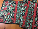 Christmas Table Runner Cardinals and Holly Leaves