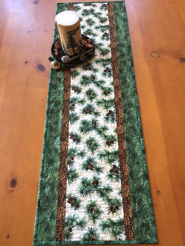 Table Runner with Pine Sprigs and Needles Cabin Decor