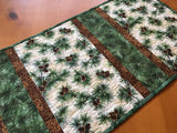 Table Runner with Pine Cones, Sprigs and Needles Cabin Decor