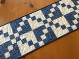 Quilted Table Runner in Blue and Cream Home Decor