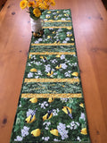 Table Runner with Yellow Finches and Flowers Handmade Home Decor
