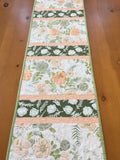 Floral Table Runner in Peach and Green Home Decor