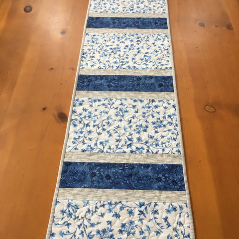 Blue and White Floral Quilted Table Runner