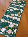 Table Runner Pale Peach Floral on Teal Background Home Decor