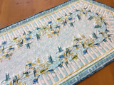 Table Runner Spring Birds on Branches and Fence Home Decor