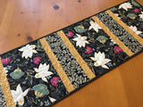 Floral Table Runner with Black Background Home Decor