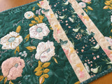 Table Runner Pale Peach Floral, Birds and Butterflies on Teal Background Home Decor