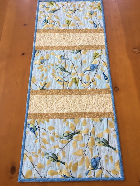 Table Runner Spring with Birds on Branches Handmade Home Decor