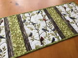 Table Runner with Birds and Leaves Cardinals, Blue Jays and Chickadees