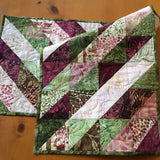 Table Runner in Diagonal Design in Green, Pink and Wine Colors