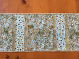 Table Runner Batik Leaves Aqua Blue and Green Home Decor