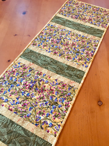 Table Runner Flower Field on a Golden Yellow Background Home Decor