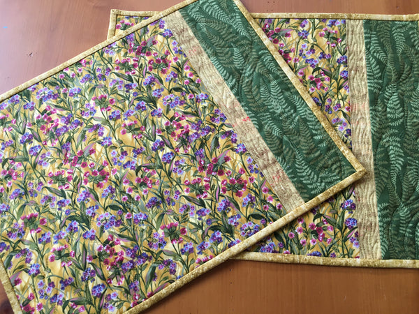 Place Mats Field of Flower Handmade Gift Set of Two