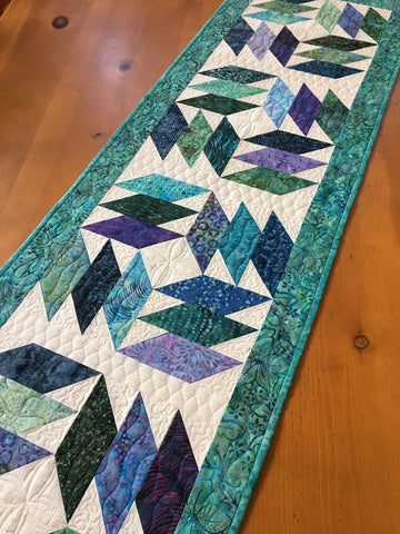 Handmade Table Runner in Blue, Purple, Teal Batiks