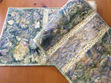 Table Runner Batik Handmade Home Decor with Leaves and Pine Sprigs