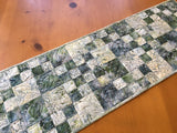 Table Runner Quilted Batik Handmade Home Decor Spruce Green