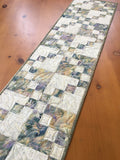 Table Runner Quilted Leaves Batik Handmade Home Decor