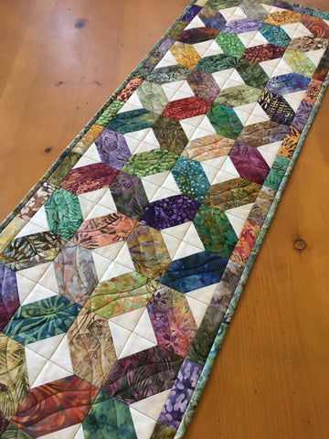 Multi-colored Batik Table Runner in a Lattice Design