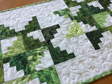 Table Runner Green Leaves Quilted Home Decor Made in America