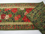 Christmas Table Runner with Poinsettias and Holly Leaves