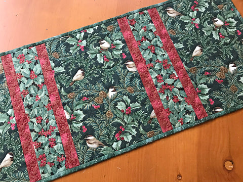 Table Runner Christmas Birds Quilted Home Decor