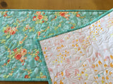 Floral Table Runner on Aqua Background