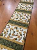 Quilted Table Runner with Gold and Green Leaves Handmade Home Decor