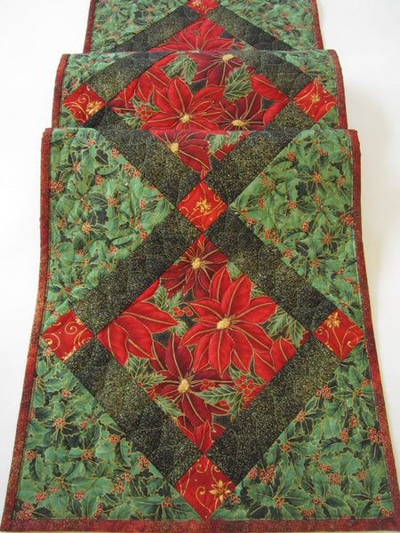 Christmas Table Runner with Holly Leaves and Poinsettias