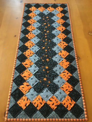 Halloween Table Runner with Bats and Spiders