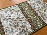 Table Runner Chickadee Birds and Pine Cones Home Decor