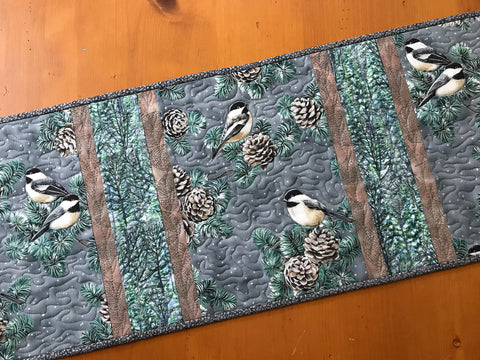 Table Runner Winter Birds on Gray Background